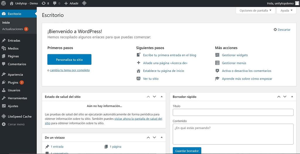 Tablero de WordPress - Unitytop